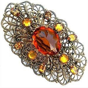 VTG Russian Gold Filigree Amber & Topaz Rhinestone